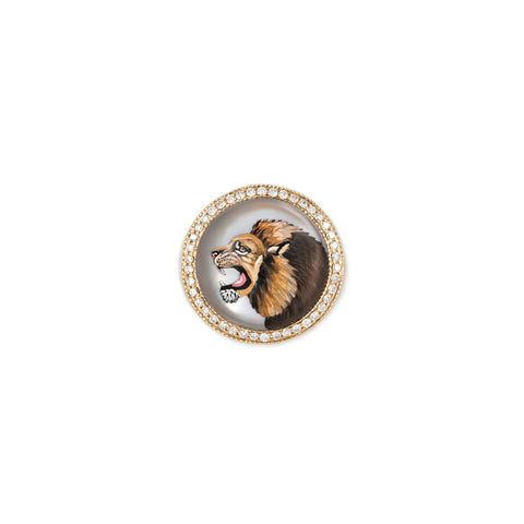 PAVE DIAMOND LION MOTHER OF PEARL SIGNET RING
