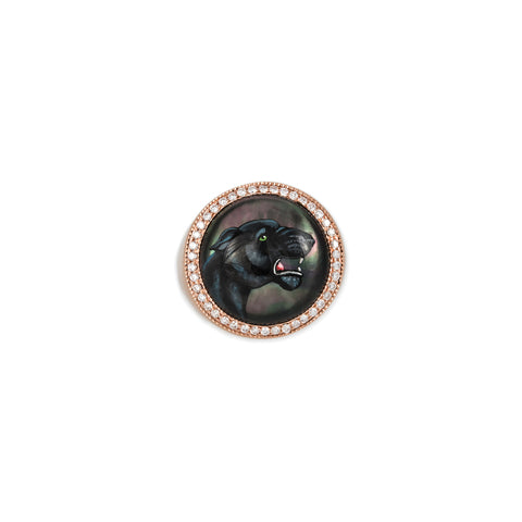 PAVE DIAMOND PANTHER MOTHER OF PEARL SIGNET RING