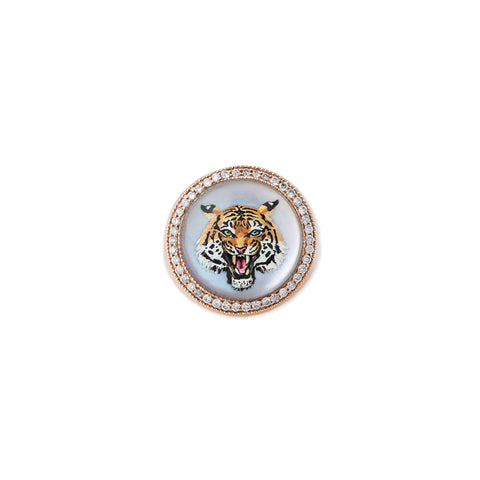 PAVE DIAMOND TIGER MOTHER OF PEARL SIGNET RING