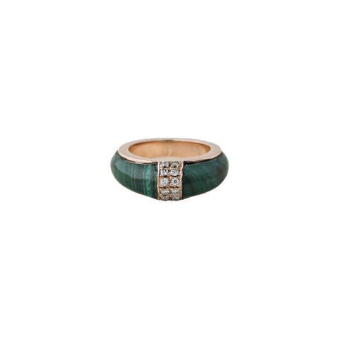 2 ROW PAVE MALACHITE INLAY DOME BAND RING