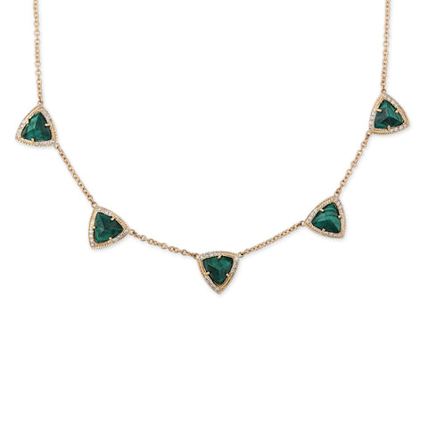 PARTIAL PAVE 5 PYRAMID MALACHITE NECKLACE