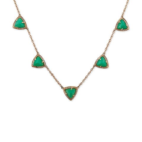 PARTIAL PAVE 5 PYRAMID CHRYSOPRASE NECKLACE