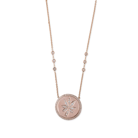 SWEET LEAF DISC NECKLACE