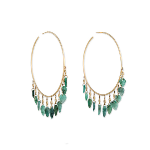 11 DIAMOND EMERALD LEAF SHAKER HOOPS