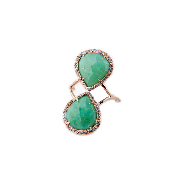FULL PAVE DOUBLE CHRYSOPRASE TRINITY RING