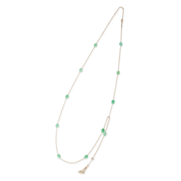 CHRYSOPRASE BEAD DIAMOND DRIP BELLY CHAIN