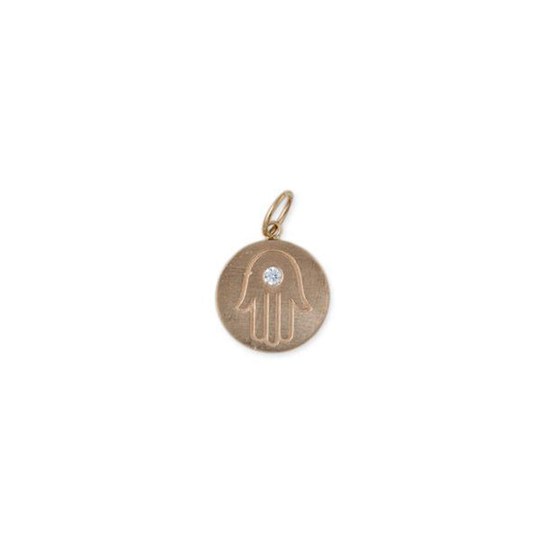 BRUSHED GOLD AND 1 DIAMOND ROUND CHARM