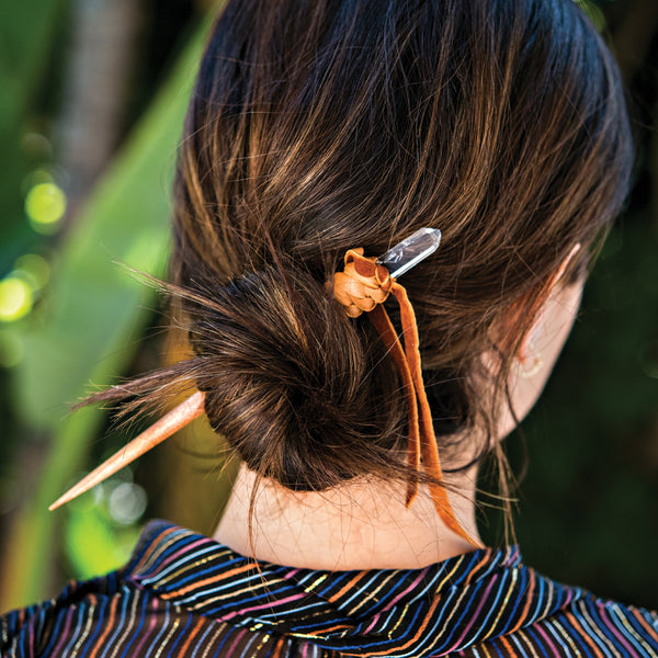 LEATHER + CRYSTAL HAIR PIN
