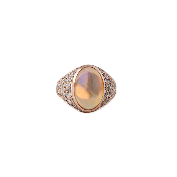FULL PAVE DIAMOND OPAL DOME RING
