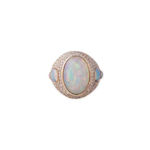 FULL PAVE DIAMOND WHITE OPAL RING