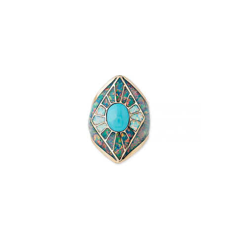 OPAL INLAY KITE SHIELD RING