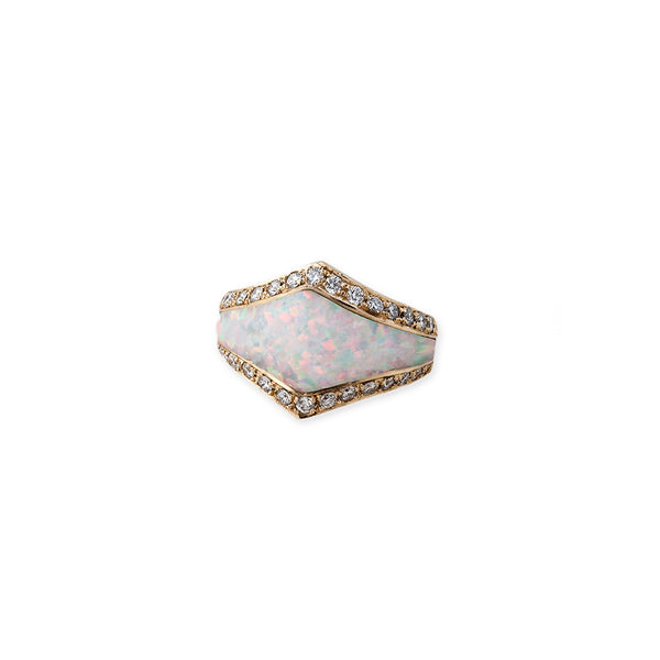 PAVE DIAMOND WHITE OPAL INLAY V RING