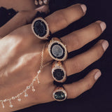 PAVE DIAMOND BLACK GEODE DRUZY SIGNET RING