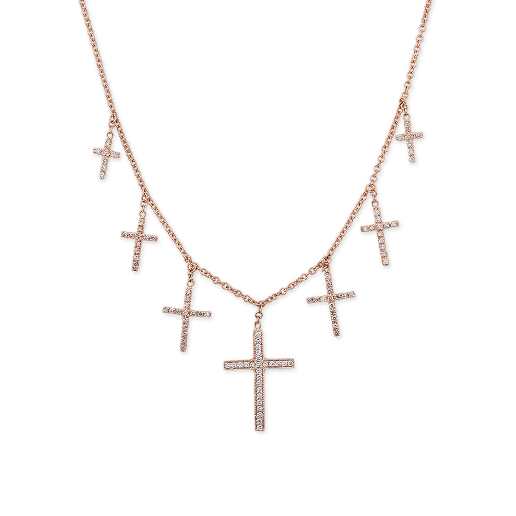 GRADUATED 7 DIAMOND CROSS SHAKER NECKLACE