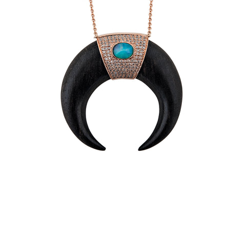 XL OPAL CAP BLACK DOUBLE HORN NECKLACE