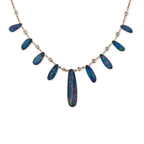 BLUE OPAL SLICE NECKLACE