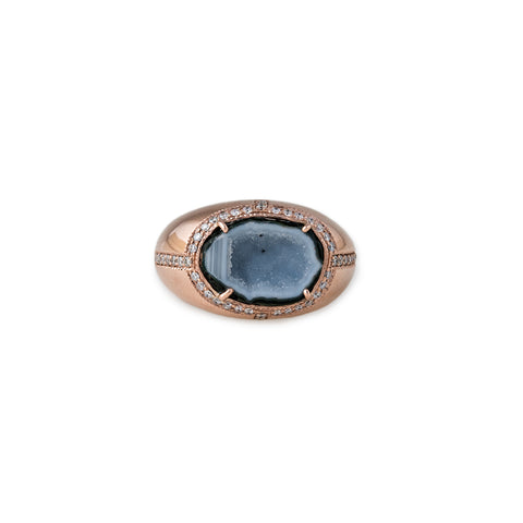 PAVE DIAMOND BLUE GEODE OVAL DRUZY SIGNET RING