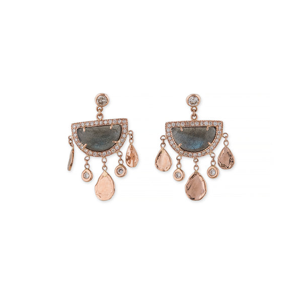 PAVE DIAMOND HALF CIRCLE LABRADORITE SHAKER EARRINGS
