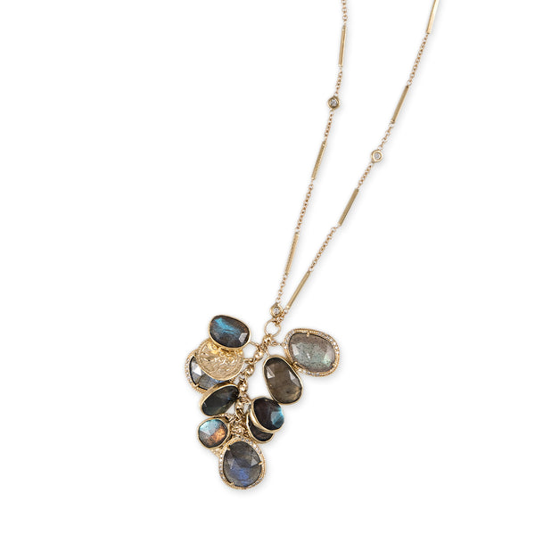 FREEFORM LABRADORITE CHARM SHAKER NECKLACE