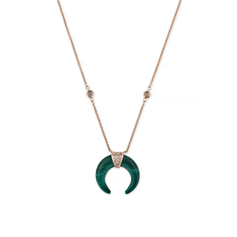 MINI MALACHITE DOUBLE HORN NECKLACE