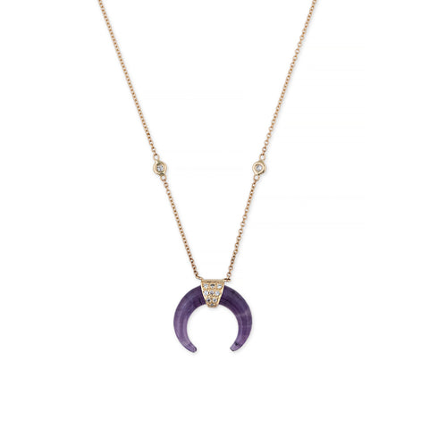 MINI AMETHYST DOUBLE HORN NECKLACE