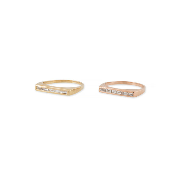 5 DIAMOND BAGUETTE FLAT BAR RING