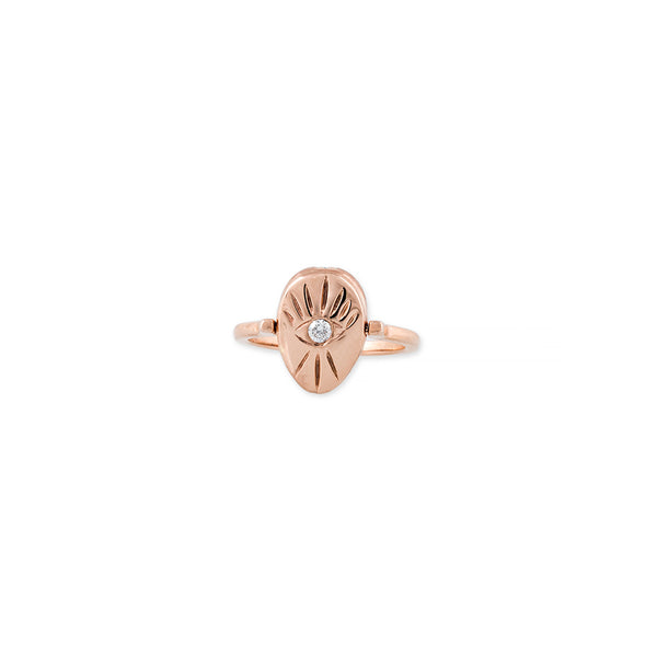 DIAMOND SCARAB EYE BURST SWIVEL RING