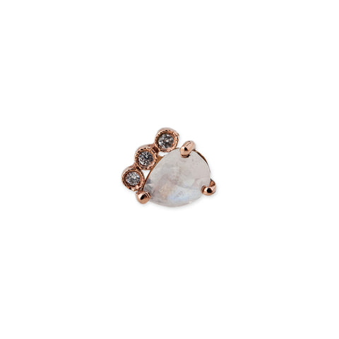 3 DIAMOND MINI MOONSTONE TEARDROP STUD