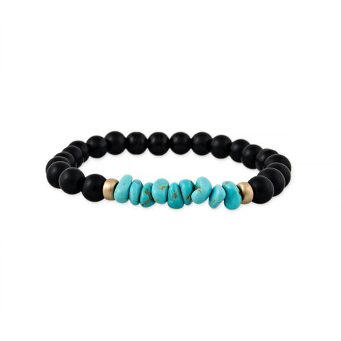 MEN'S TURQUOISE AND BLACK BEAD BRACELET