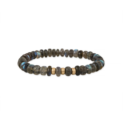 MEN'S SMOOTH 3 BEAD LABRADORITE BRACELET