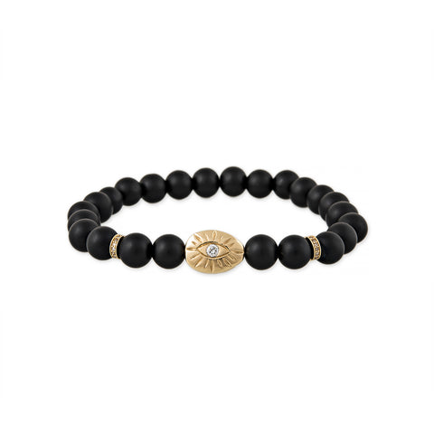MEN'S PAVE DIAMOND SCARAB BLACK BEAD BRACELET