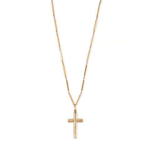 SMOOTH BAR TEXTURED CROSS CHARM NECKLACE