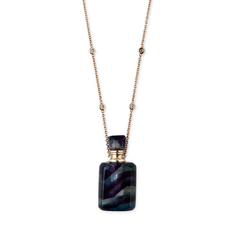 FLUORITE MEDIUM RECTANGLE POTION BOTTLE NECKLACE