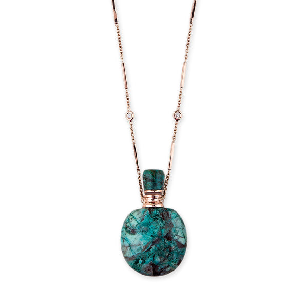 TURQUOISE LARGE ROUND POTION BOTTLE BAR CHAIN NECKLACE