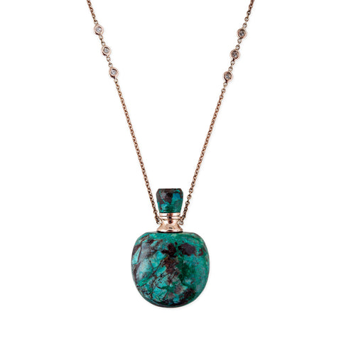 TURQUOISE LARGE ROUND POTION BOTTLE NECKLACE
