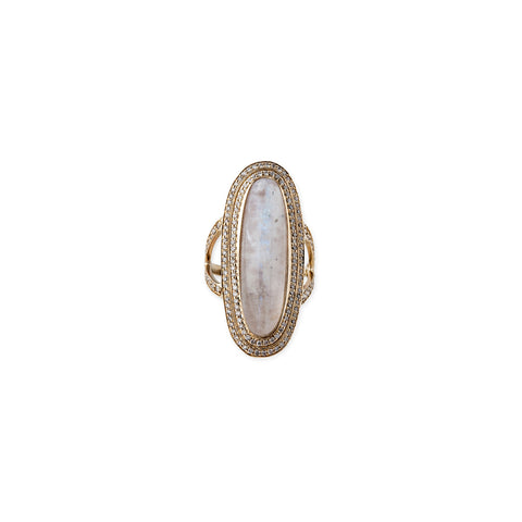 DOUBLE HALO MOONSTONE COCKTAIL RING