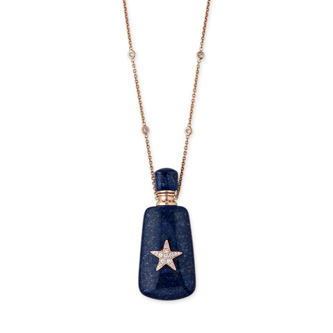 PAVE STAR LAPIS LARGE RECTANGLE POTION BOTTLE NECKLACE