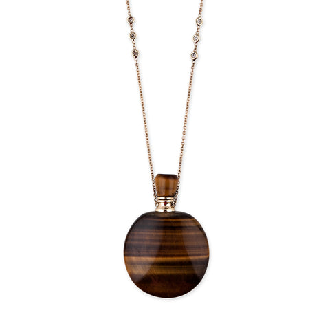 TIGERS EYE LARGE ROUND POTION BOTTLE NECKLACE