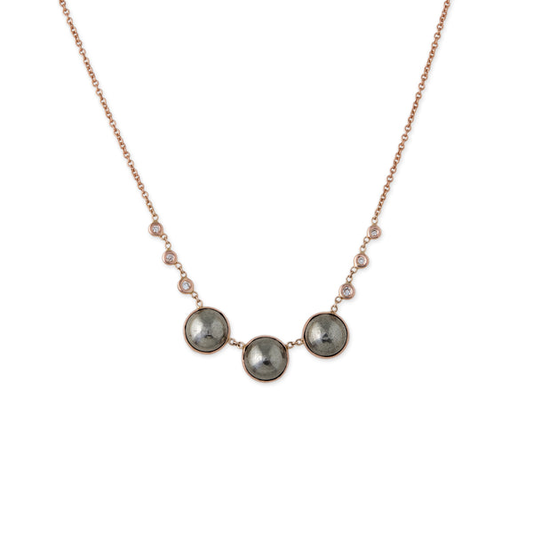 3 ROUND PYRITE + 6 DIAMOND BEZEL NECKLACE