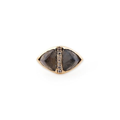 LABRADORITE DOUBLE PYRAMID TRIANGLE RING