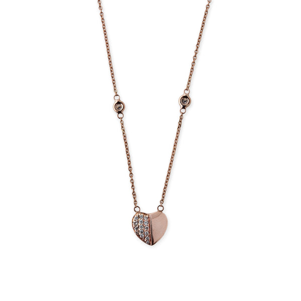 HALF PAVE HEART NECKLACE