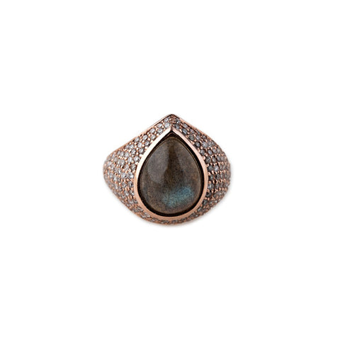 FULL PAVE TEARDROP LABRADORITE COCKTAIL RING