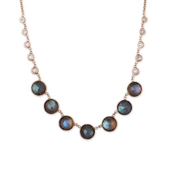 7 ROUND LABRADORITE + 10 DIAMOND BEZEL NECKLACE