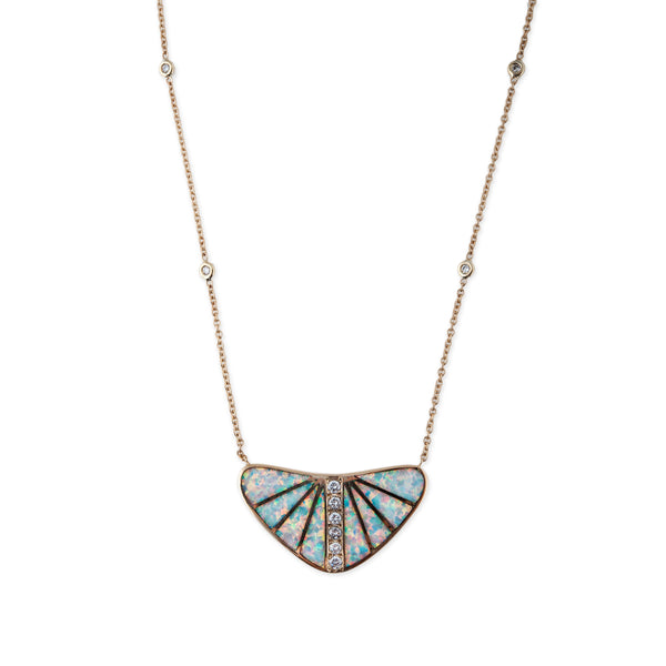 OPAL INLAY FAN NECKLACE
