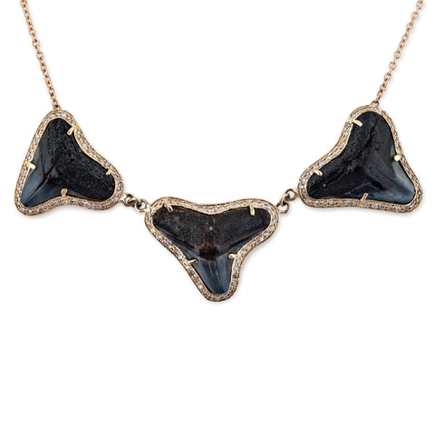PAVE 3 BROWN SHARK TOOTH NECKLACE