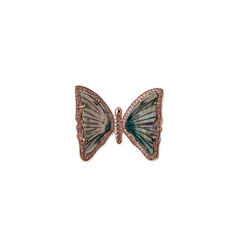 LIGHT GREEN GREY OPAL BUTTERFLY RING