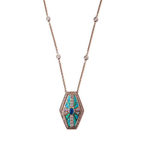 FULL PAVE OPAL INLAY HEXAGON NECKLACE