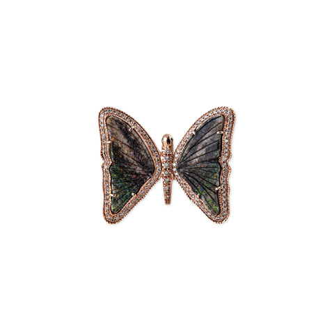 GREEN GREY OPAL BUTTERFLY RING