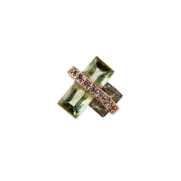 DOUBLE GREEN TOURMALINE BAGUETTE STUD