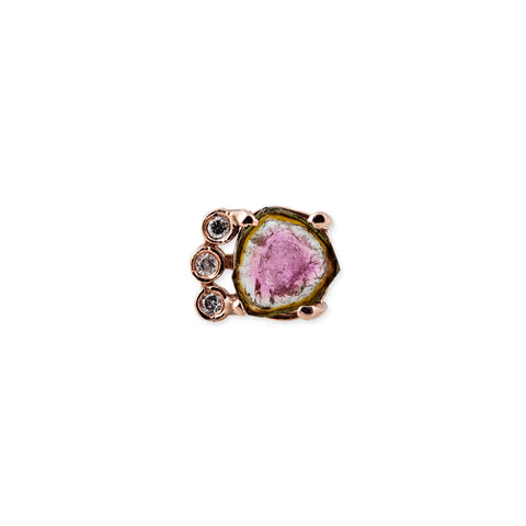 3 DIAMOND WATERMELON TOURMALINE SLICE STUD